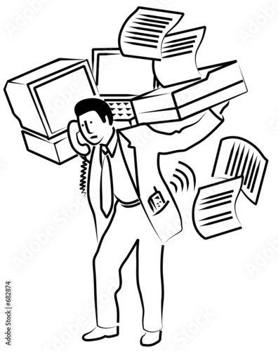 man carrying office equipment