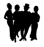 silhouette with clipping path of formal group poster