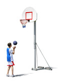 boy training basketball - basket, ball poster