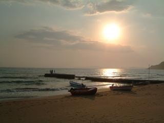 corfu beach sunset