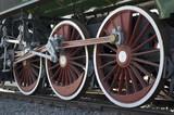 wheels of vintage steam train poster
