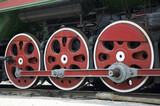 wheels of retro steam train poster