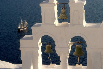 typical scene from the greek island of santorini