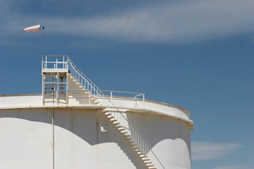 oil storage tank with windsock