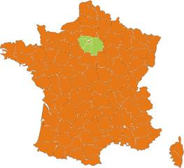 les départements français en metropole