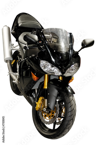 black racing motorcycle isolated