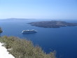 cruiseship on santorini