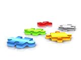 colour puzzle pieces - 3d render poster