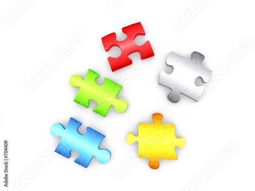 colour puzzle pieces - 3d render