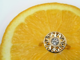 golden ring on orange