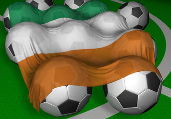 3d-rendering ivory coast flag and soccer-balls