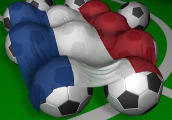 3d-rendering netherlands flag and soccer-balls