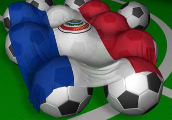3d-rendering paraguay flag and soccer-balls