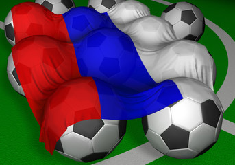 3d-rendering russia flag and soccer-balls