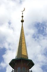 mosque with crescent on the top
