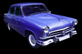 classic blue retro car isolated poster