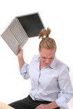 business woman throwing laptop 4 poster