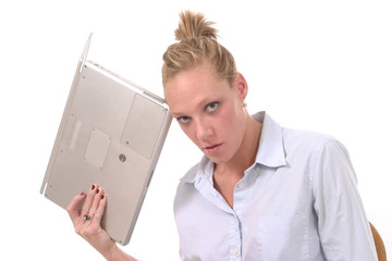 business woman throwing laptop 2