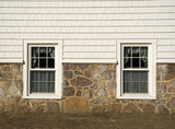 stone wall french windows poster