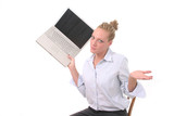 business woman throwing laptop 3 poster