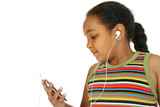 young girl listening to music poster