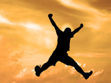 jumping silhouette sunset sky-clipping path poster