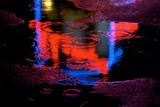 neon puddle background poster