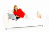 women with laptop on couch poster