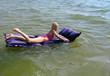 smiling girl swimming