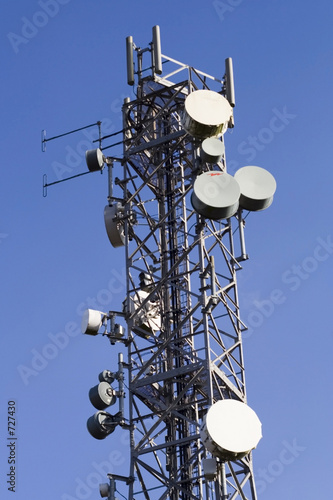 telecommunications mast and blue sky
