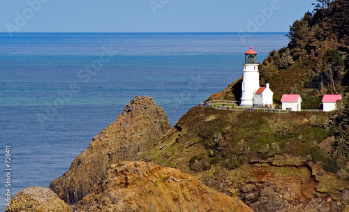 close view of heceta head lighthouse on oregon coa