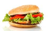 big hamburger side view isolated poster