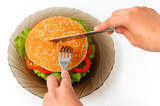 big hamburger on a plate meal time poster