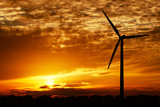 wind energy and golden sunset poster