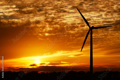wind energy and golden sunset