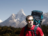 backpacking in the himalayas poster