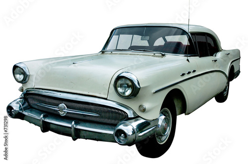Fotobehang Oude auto s classic white retro car isolated