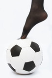 woman foot and soccer ball poster
