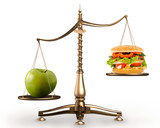 apple and hamburger on scales conceptual poster