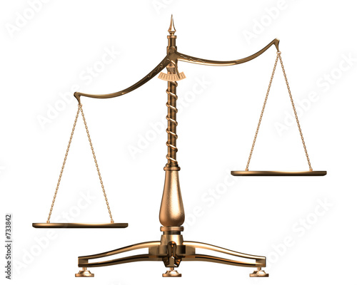 brass scales 3d concept isolated on white - 733842