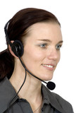 customer services girl smiling poster