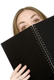 studying peeping over notebook poster