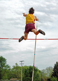 pole vaulter in air poster