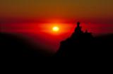 sonnenuntergang im himalaya poster