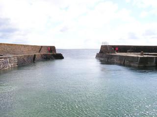 quaint scottish harbour.