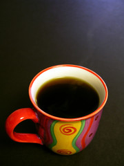hot cup of black coffee