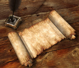 roll of parchment on wooden table 3d still-life poster