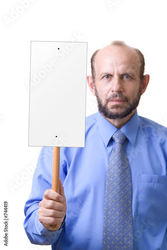 man with an empty sign