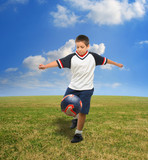 kid playing soccer outside poster