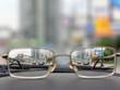 Leinwanddruck Bild - glasses on front panels of car